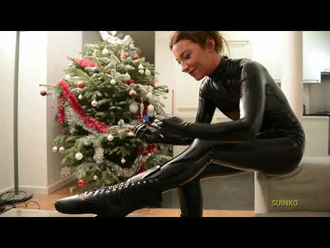 Girls with Ballet boots and latex catsuit