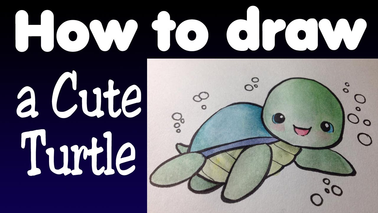 How To Draw A Cute Turtle Youtube