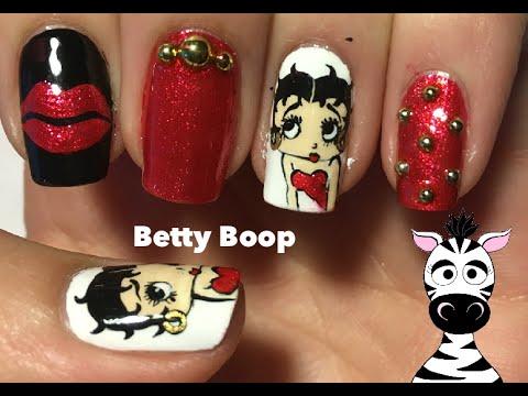 Betty Boop Nail Art Design Tutorial Youtube