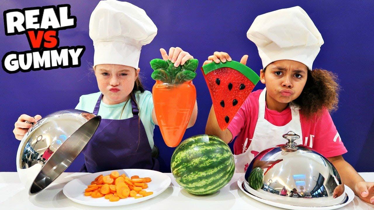 Real Food Vs Gummy Food Challenge Youtube