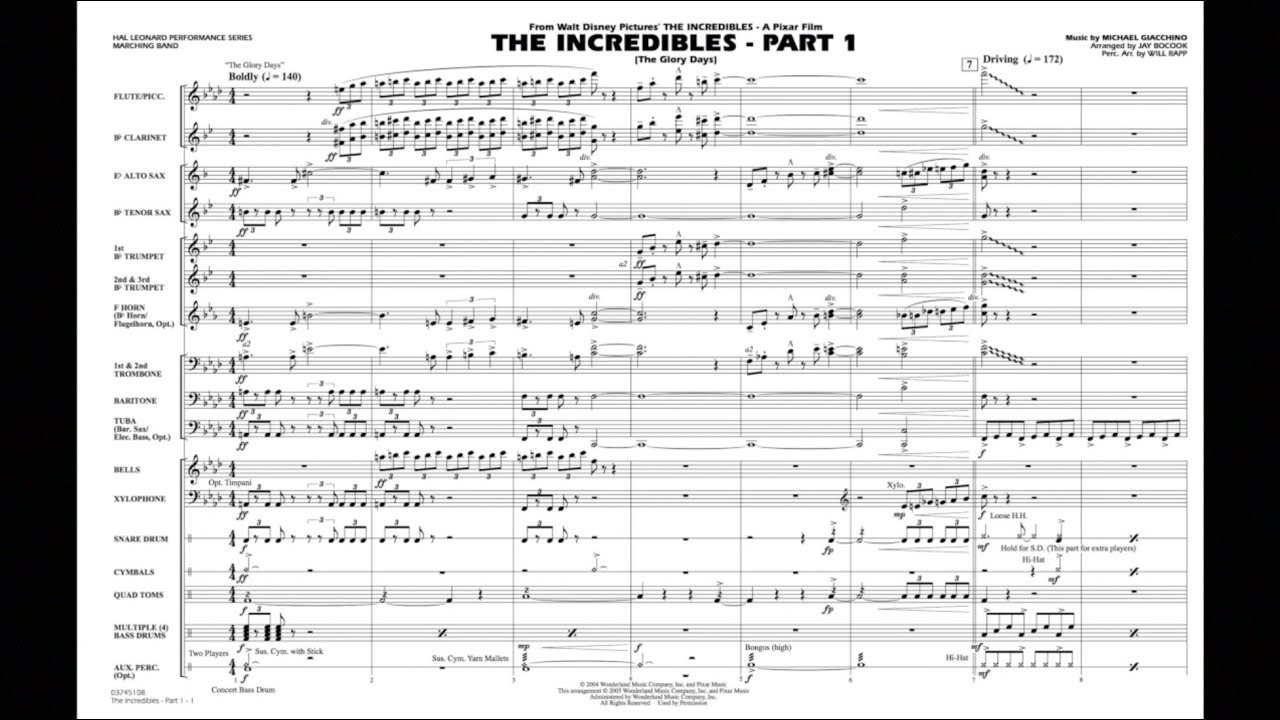 The Incredibles - Part 1 by Michael Giacchino/arr  Jay Bocook