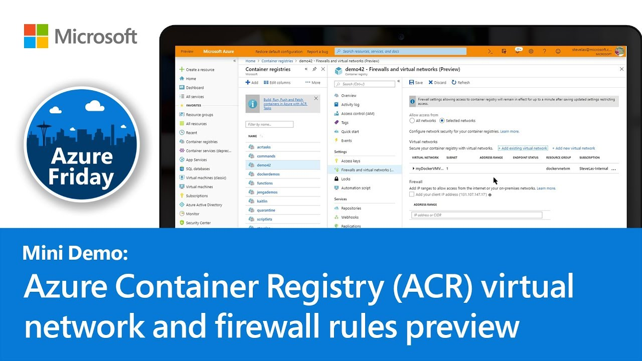 Azure Container Registry (ACR) virtual network and firewall rules preview