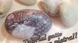 Tutorial gatto su pietra | Tutorial cat on stone | Painting | Tutorial draw | Disegno su pietra |