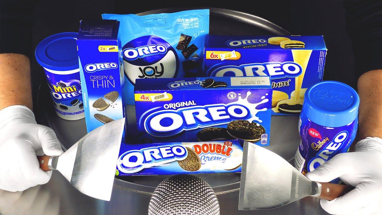 ASMR — Полные рулоны мороженого OREO |  как приготовить мороженое OREO с печеньем в шоколаде и др.