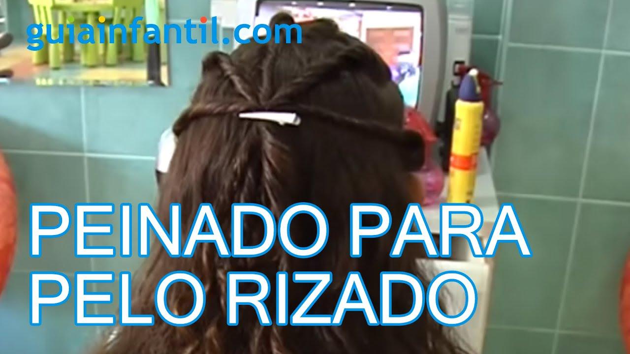 un peinado para pelo rizado, peinados de niñas - youtube