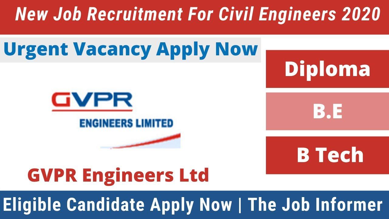 Gvpr Engineers Ltd New Recruitment For Civil Engineer 2020 | Civil Engineers New Job Vacancy 2020