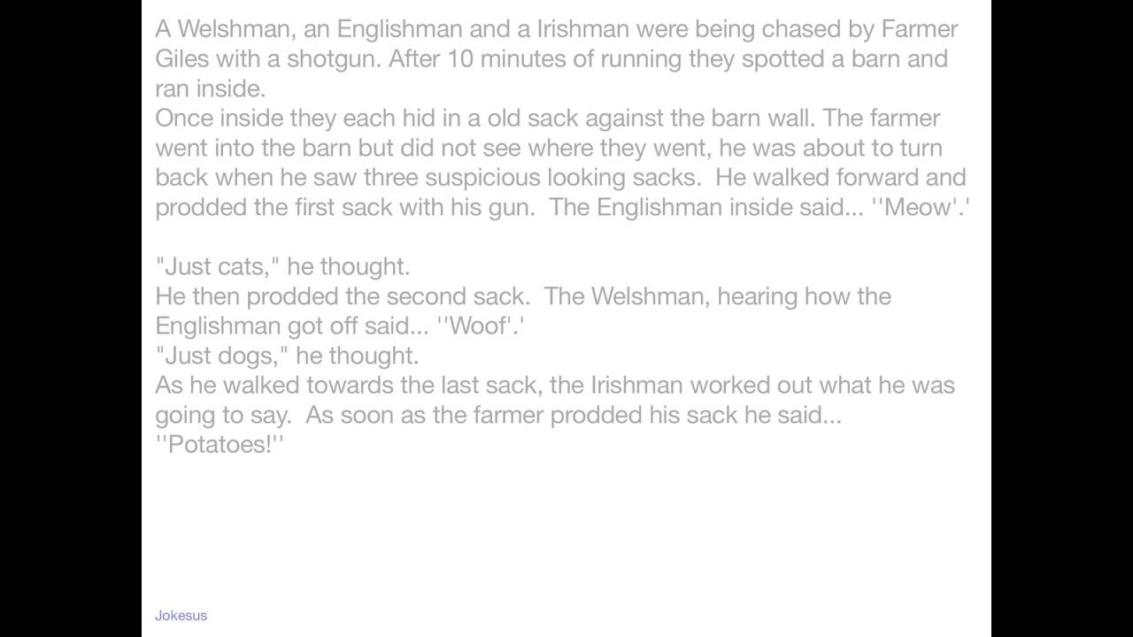 Paddy englishman irishman scotsman