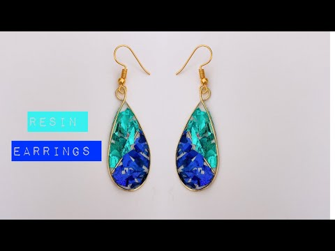 UV Resin Tutorial/make beautiful earrings using resin/no mold/wire resin earrings/wire bezel making