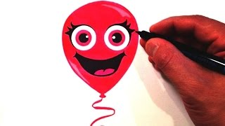 How to Draw a Cute Balloon Smiley Face