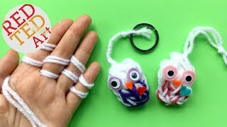 Finger Knitting Owl DIY - Keychain DIY or Owl Ornament DIY