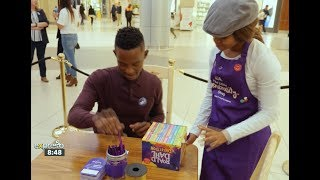 Katlego Maboe visits the Sandton City Cadbury Dairy Milk Little Generosity Shop