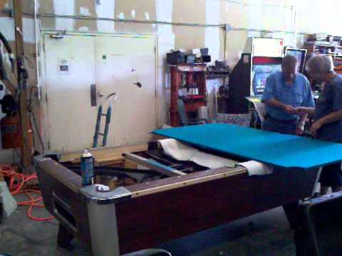 Pool Table Recover YouTube - Reclothing pool table