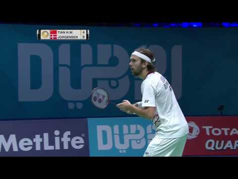 Dubai World Superseries Finals 2016 | Badminton SF1 M2-MS | Tian Houwei vs Jan O Jorgensen
