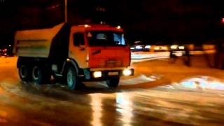 Russian dump truck Kamaz nice drift