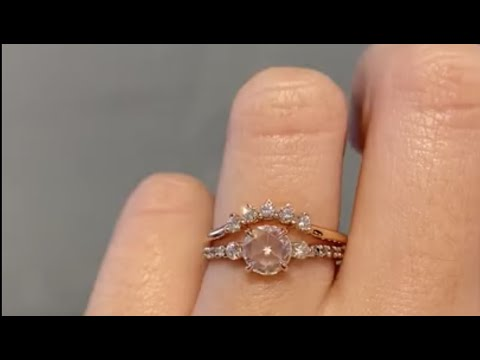 Rose Cut 0.7 Carat Round Diamond Engagement Ring & Rose Gold Diamond Band - Delilah & Antoinette