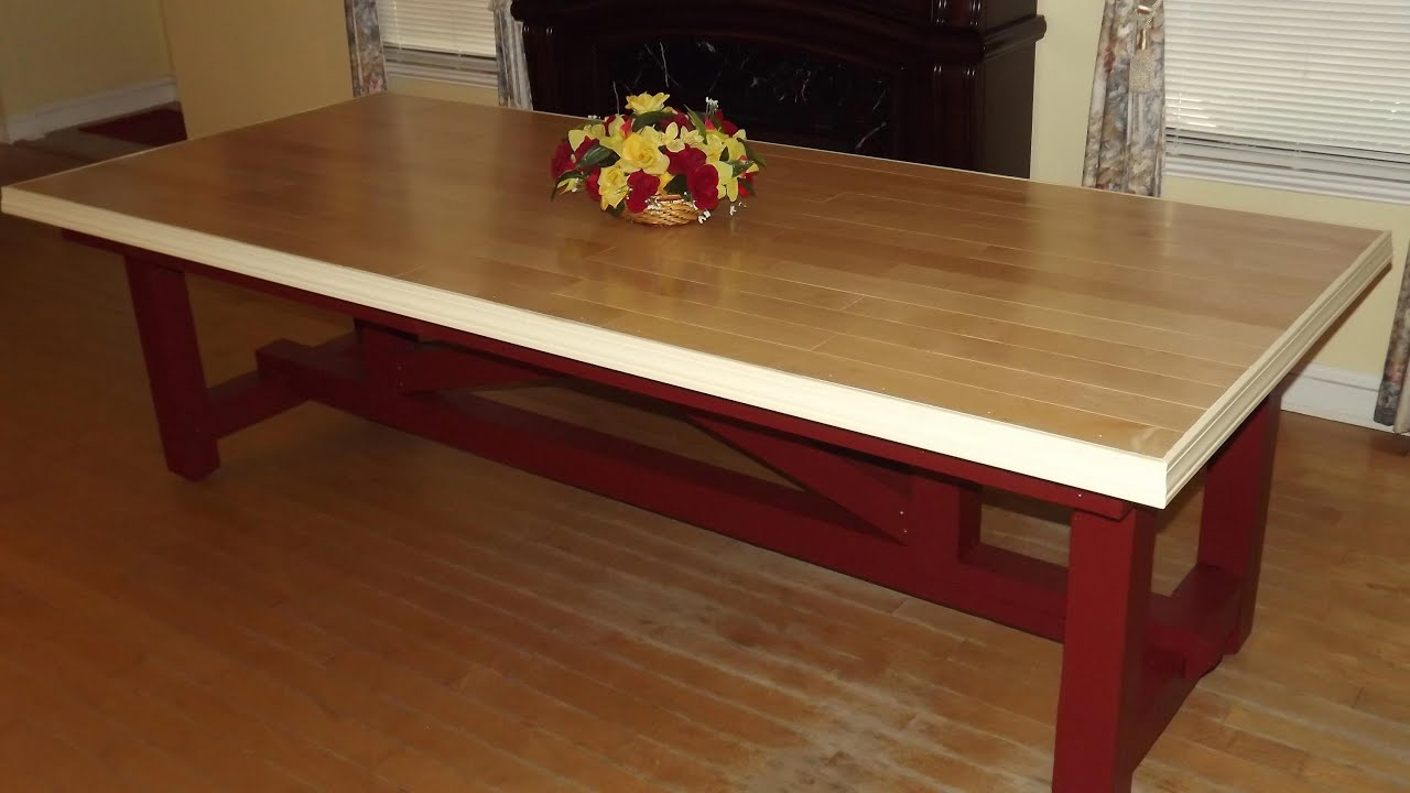 Easy make rustic dining table with base from 4x4 s youtube for 4x4 dining table