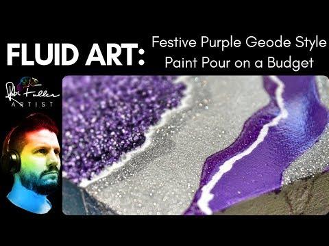 Acrylic Paint Pour Geode on a Budget 2 NO RESIN Festive Purple