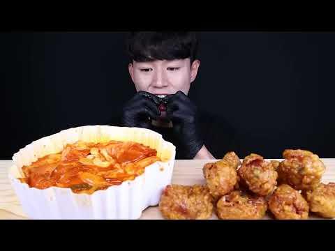 엽기떡볶이 허니콤보 치킨 먹방ASMR MUKBANG SPICY TTEOKBOKKI & SWEET FRIED CHICKEN トッポッキ チキン eating sounds