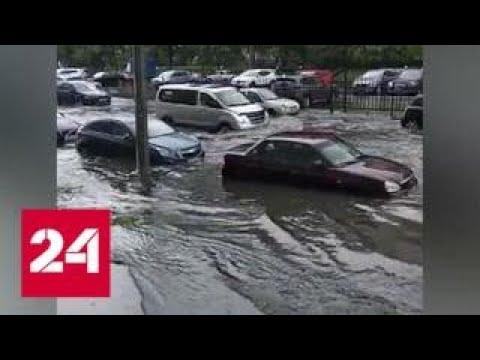 Смотреть фото Ливень в Петербурге: в некоторых местах уровень воды достигал середины корпуса машины - Россия 24 новости Россия