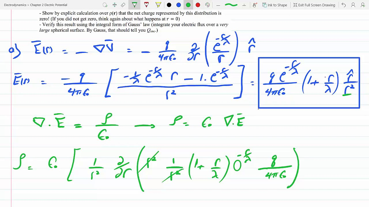 Find Electric Field The Charge Density And Total For A Screened Coulomb Potential P 2 46