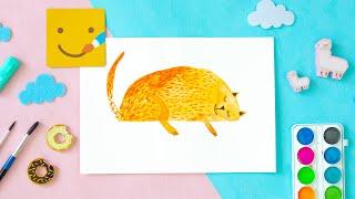 Как нарисовать КОТИКА / Рисуем акварелью/ Урок рисования