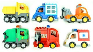 Пожарный и полицейский автомобили, экскаватор, самосвалы, строительное видео