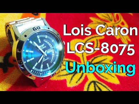 5714fa4f6d1 Lois Caron LCS-8075 BLUE DIAL DAY   DATE FUNCTIONING Watch - For Men  unboxing