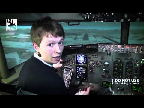 Cross - wind take-- off and landing on a Boeing 737 CL. Baltic Aviation Academy