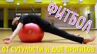Фитбол от сутулости. Упражнения на гимнастическом мяче. Мяч для фитнеса