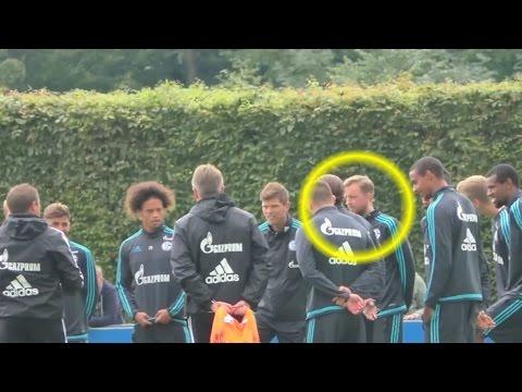 Amateur crasht Schalke 04 Training - Niederländer hat Spass mit Huntelaar - Deutsch Untertitelt