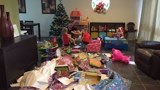 Christmas Day 2014; Twins opening & playing with presents