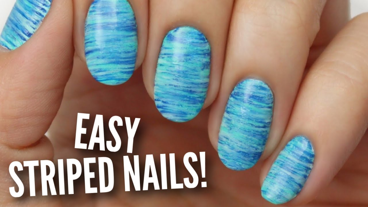 Easy Striped Nail Art - YouTube