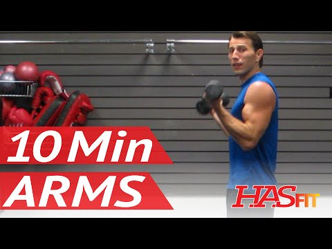 HASfit's 10 Minute Arm Workout At Home With Dumbbells - Arm Exercises For Biceps And Triceps