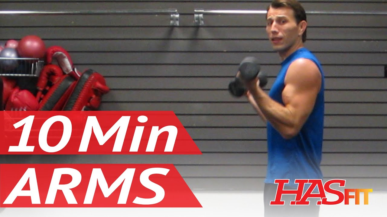 HASfit's 10 Minute Arm Workout at Home with Dumbbells - Arm Exercises for  Biceps and Triceps - YouTube