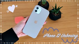 IPHONE 12 WHITE UNBOXING 📦🍎+ Accessories & Set up - Asmr Unboxing
