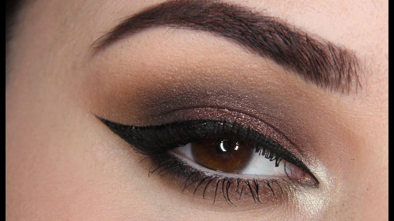 Dramatic Brown Purple Smokey Eye Makeup W Winged Eyeliner