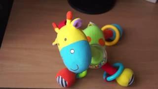 Детская игрушка, погремушка, развивающая подвеска для самых маленьких, жираф, обзор