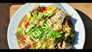 Salmon Avocado Asian Cold Noodle Salad -extremely Healthy & Quick
