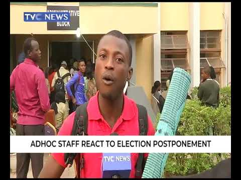 INEC ad-hoc staff react to Election postponement