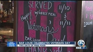 Bar Louie gives free meals to vets on Veteran's Day Weekend