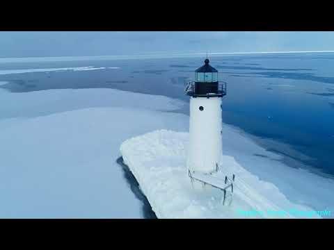 4K Aerial Footage Of Manistee North Pier-head Lighthouse Frozen Polar Vortex!!! Travel Mp3