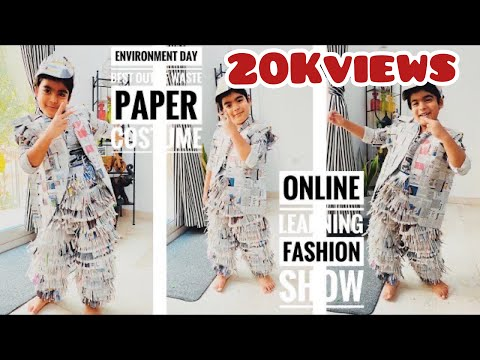 E-Learning fashion show   Making of PaperCostume Best of waste  Newspaper Recycling   eco friendly
