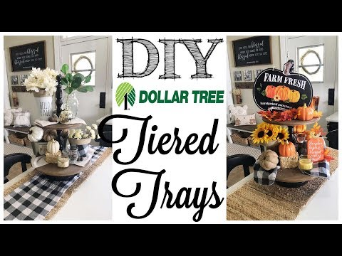 DIY Dollar Tree Fall Decor | 2 TIERED TRAYS!
