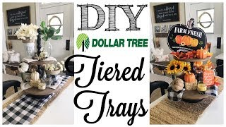 DIY Dollar Tree Fall Decor   2 TIERED TRAYS!