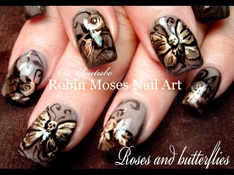 Butterfly Nails | Skeleton Butterflies & Roses Nail Art Design Tutorial