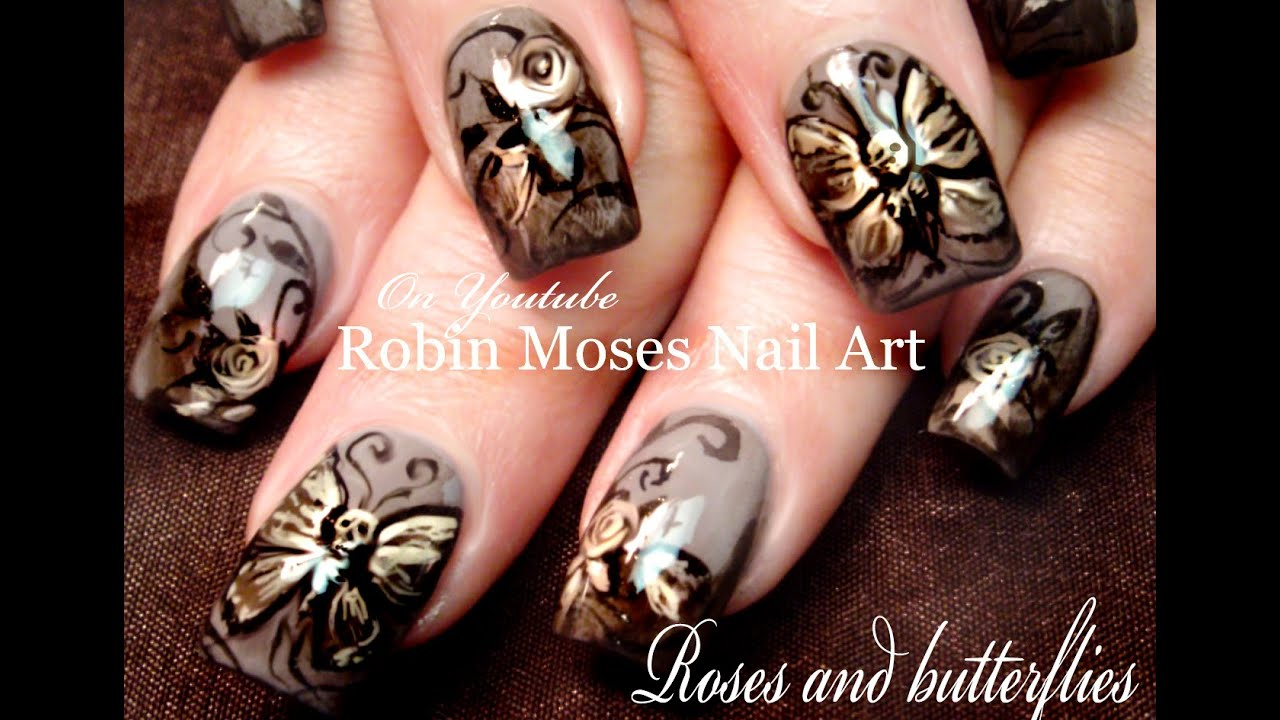 Butterfly nails skeleton butterflies roses nail art design butterfly nails skeleton butterflies roses nail art design tutorial prinsesfo Images