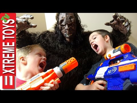 Wild Bigfoot Horror! Sasquatch Monster Attacks! Ethan and Cole With Nerf Blasters Fight the Beast Mp3