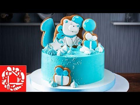 Торт без мастики мальчику на 1 год. Торт с пряничными топперами для ребенка