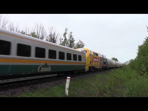 Ontario Trip 2017 Video 50 of 111: VIA 60/50 Near Newtonville Canada 26MAY17 F40PH-2d 6442 Leading