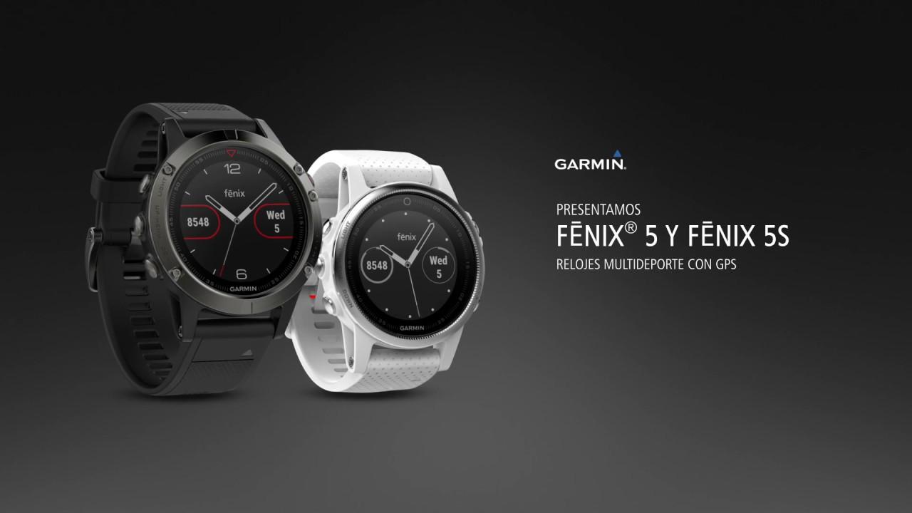 f1eda8db5591 Reloj GARMIN Fenix 5S Plata 42mm con correa negra y pulsómetro integrado